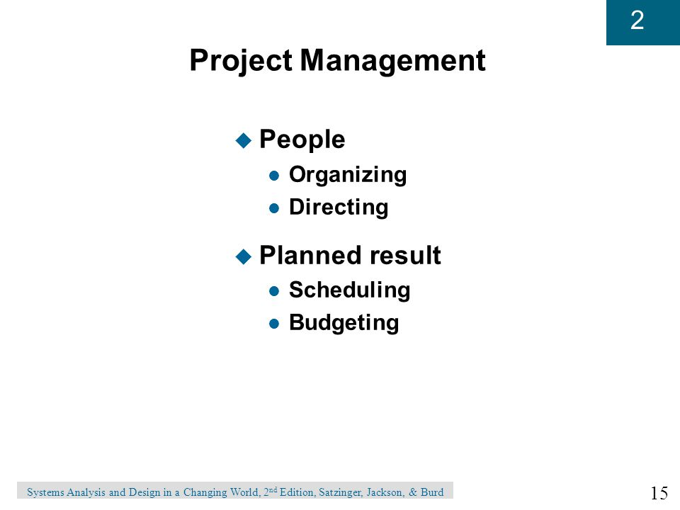 Project Management People Planned result Organizing Directing
