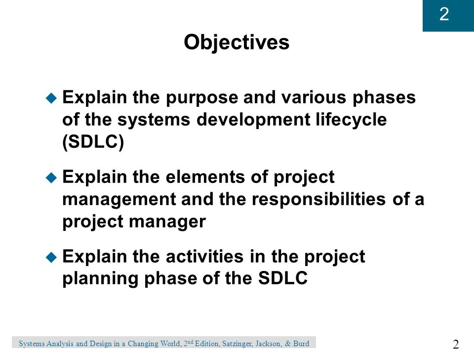 Objectives Explain the purpose and various phases of the systems development lifecycle (SDLC)