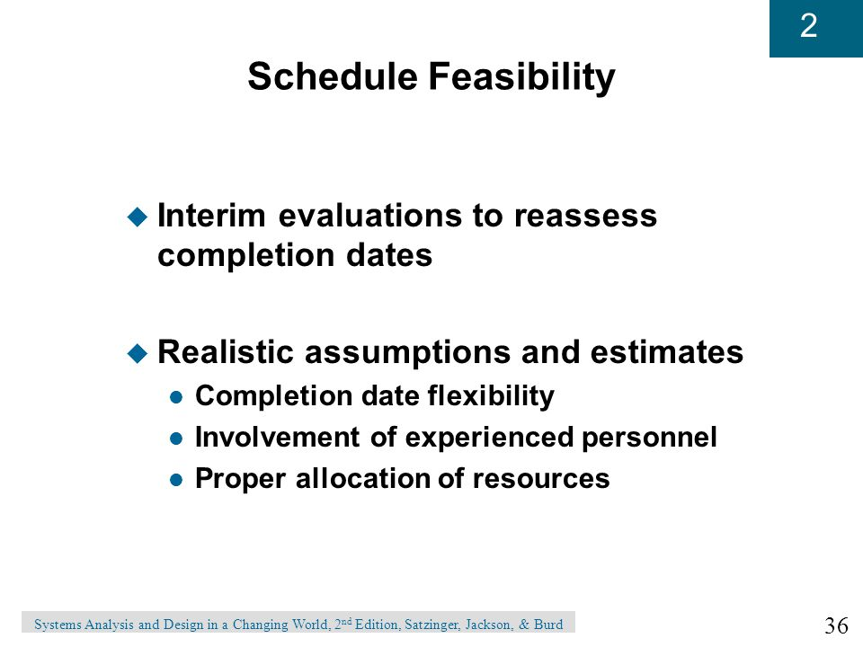 Schedule Feasibility Interim evaluations to reassess completion dates