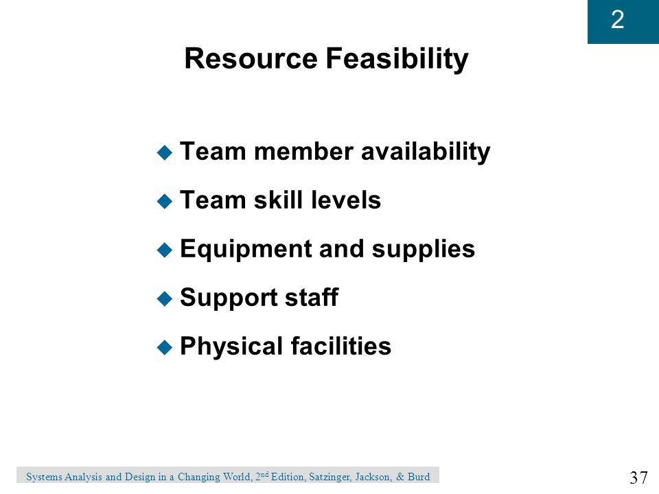 Resource Feasibility Team member availability Team skill levels