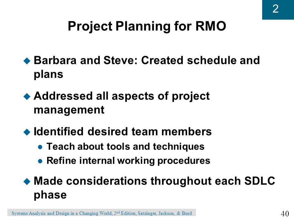Project Planning for RMO