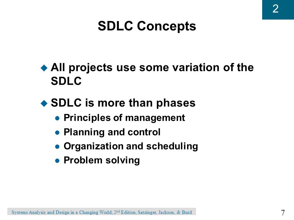 SDLC Concepts All projects use some variation of the SDLC