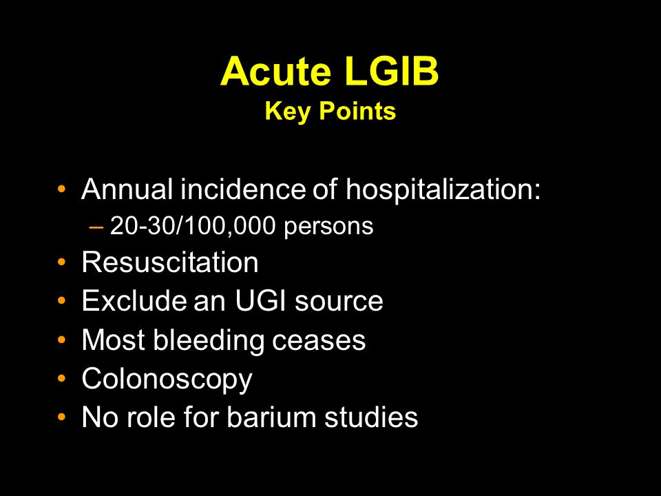 Acute LGIB Key Points Annual incidence of hospitalization: