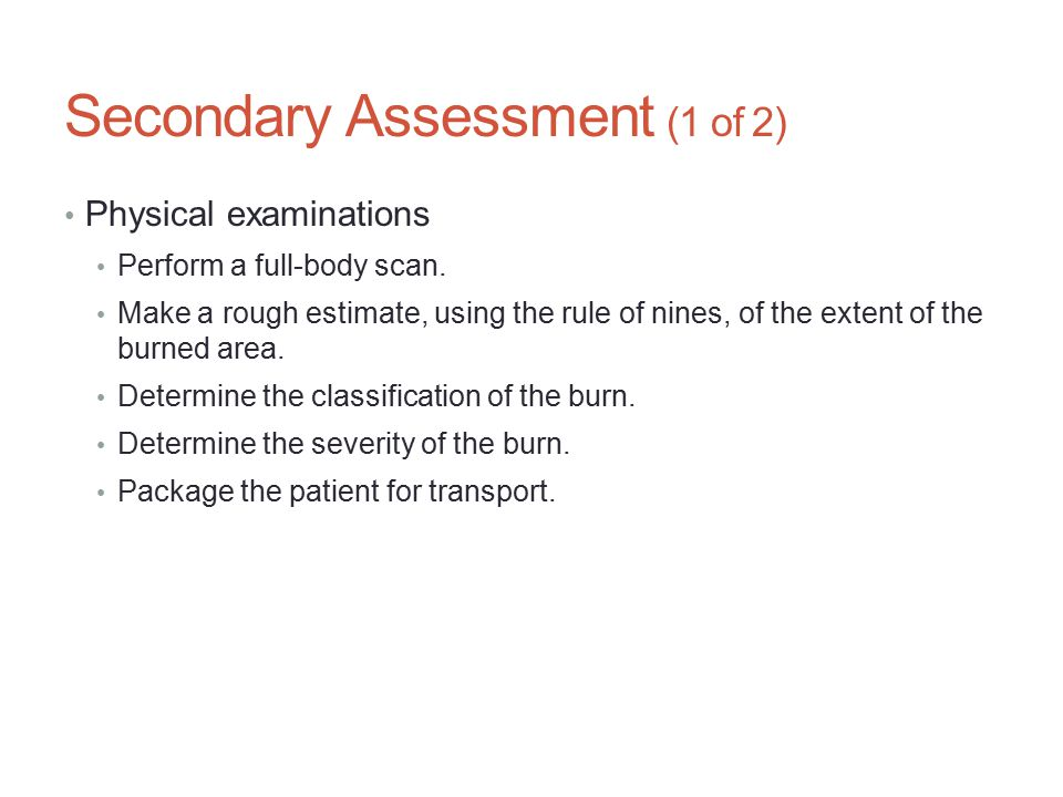 Secondary Assessment (1 of 2)