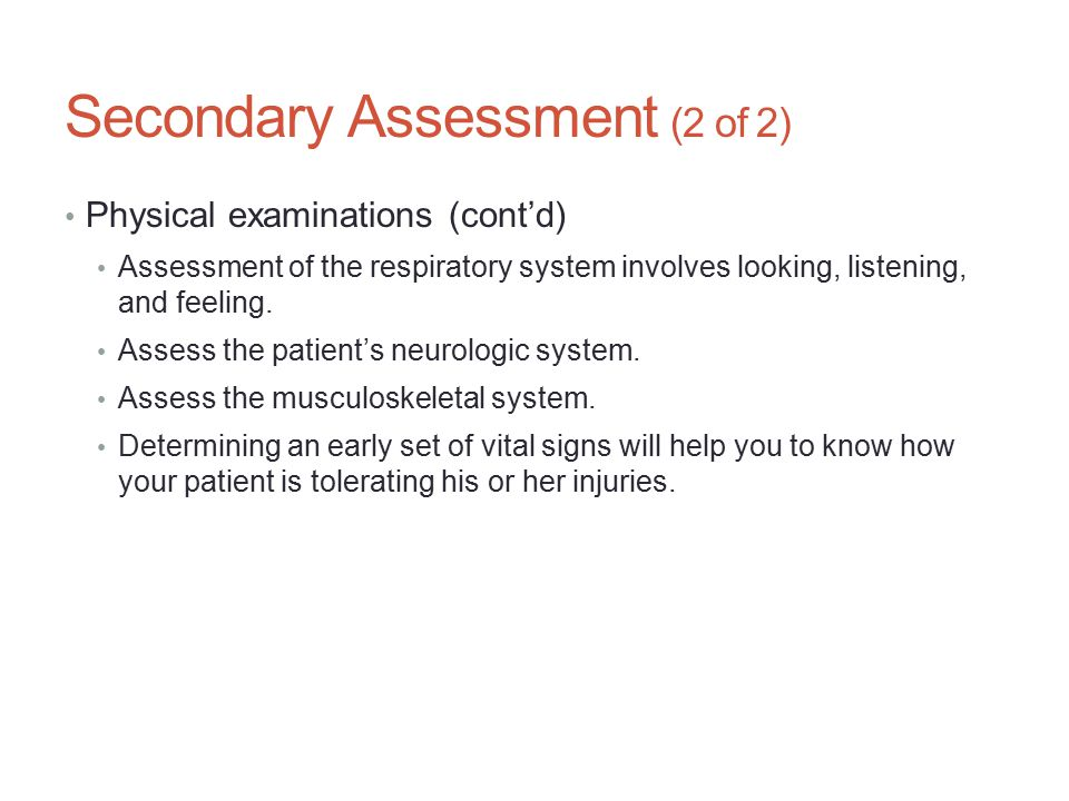 Secondary Assessment (2 of 2)