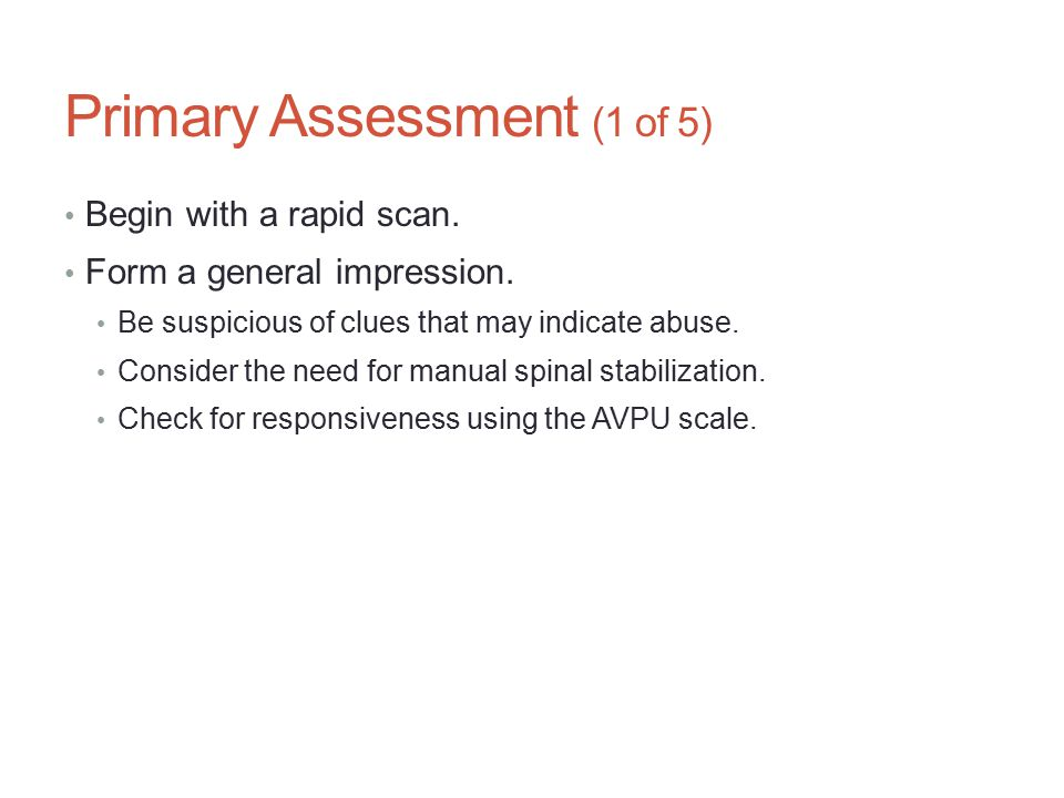 Primary Assessment (1 of 5)