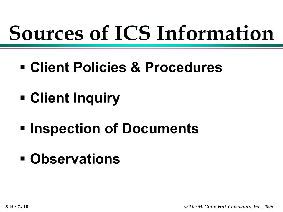 Sources of ICS Information