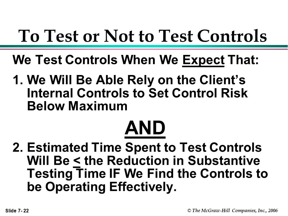 To Test or Not to Test Controls