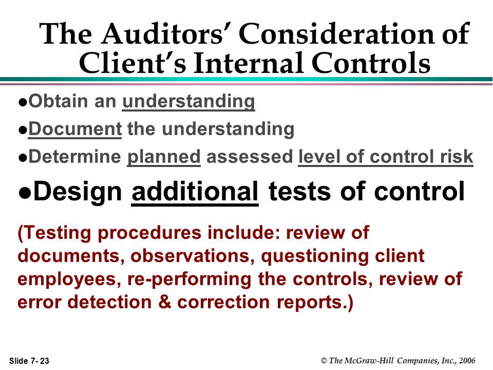 The Auditors' Consideration of Client's Internal Controls