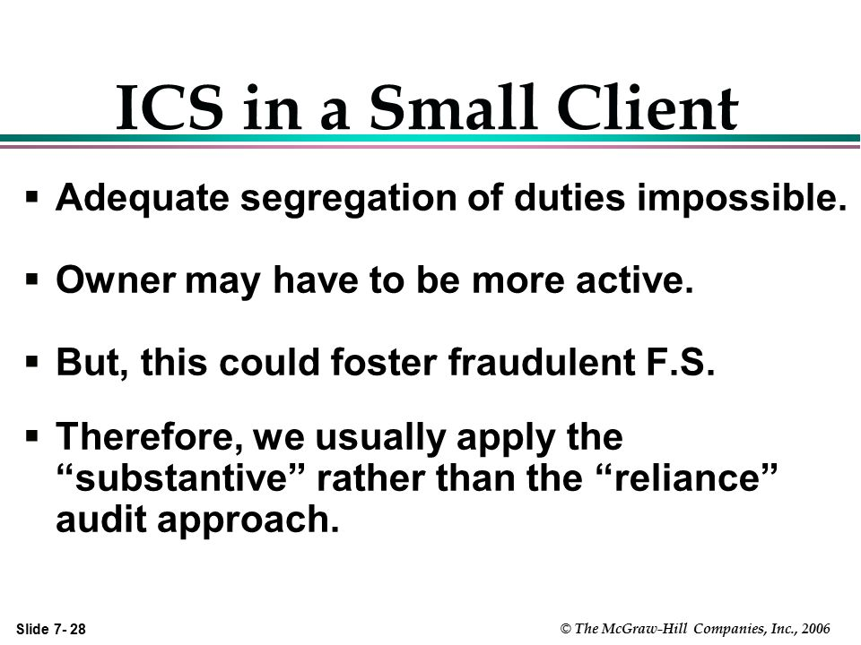 ICS in a Small Client Adequate segregation of duties impossible.