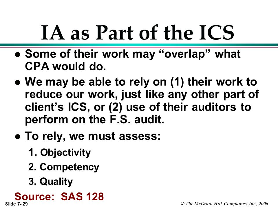 IA as Part of the ICS Some of their work may overlap what CPA would do.