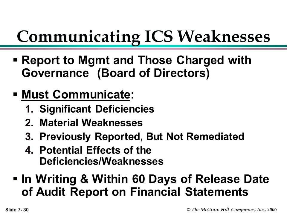Communicating ICS Weaknesses