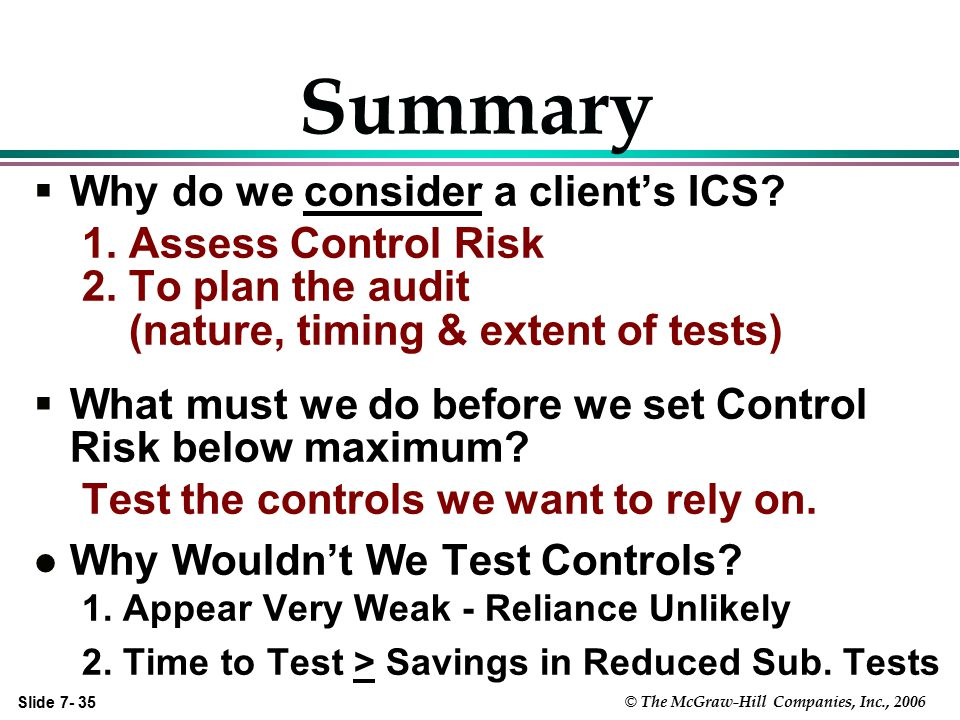 Summary Why do we consider a client's ICS 1. Assess Control Risk