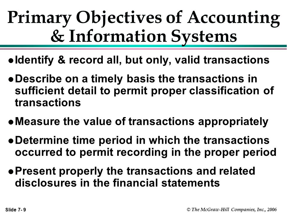 Primary Objectives of Accounting & Information Systems