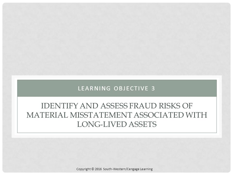Learning Objective 3 Identify and assess fraud risks of material misstatement associated with long-lived assets.