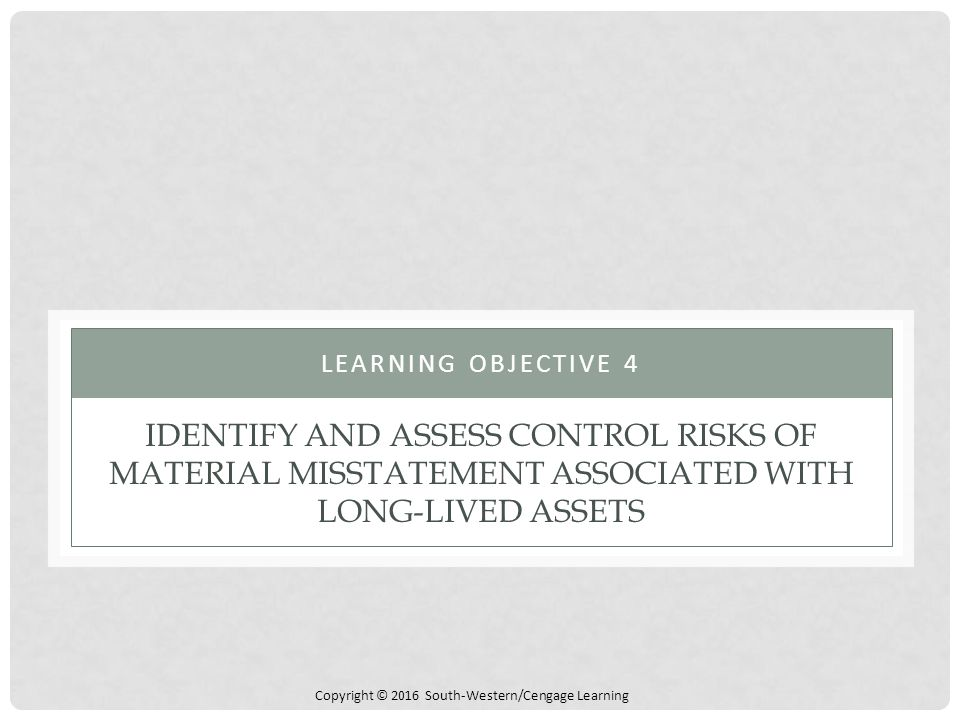 Learning objective 4 Identify and assess control risks of material misstatement associated with long-lived assets.