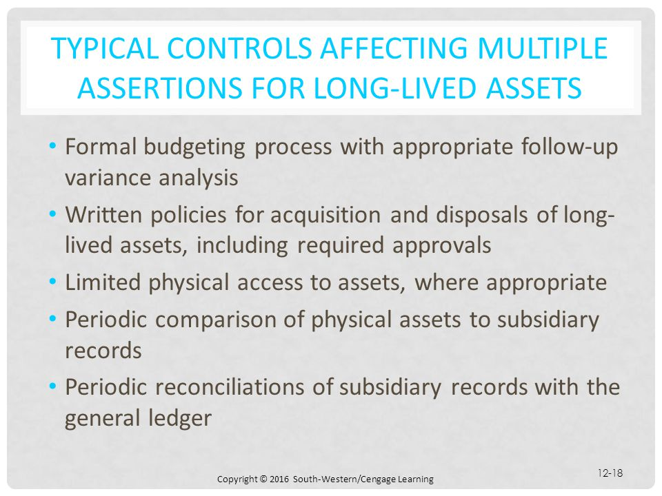 Typical controls affecting multiple assertions for long-lived assets