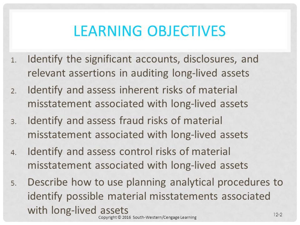 Learning Objectives Identify the significant accounts, disclosures, and relevant assertions in auditing long-lived assets.