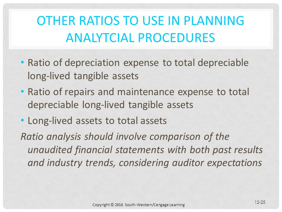 OTHER Ratios TO USE IN PLANNING ANALYTCIAL PROCEDURES