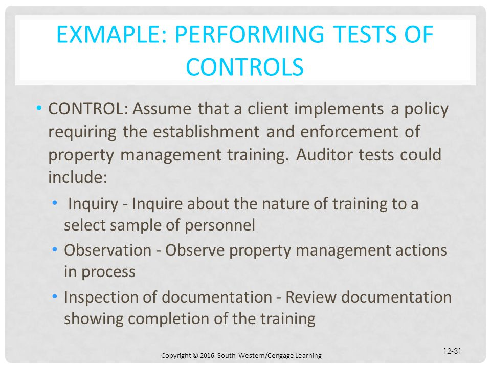 Exmaple: Performing Tests of Controls