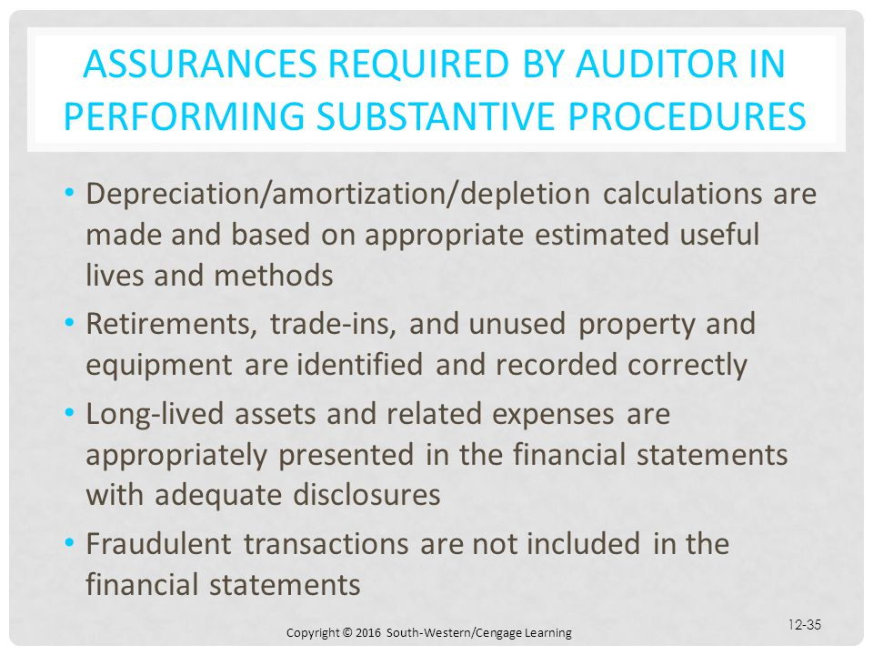 Assurances required by auditor in performing substantive procedures