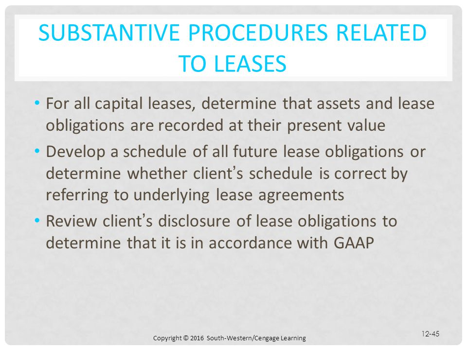 Substantive Procedures Related to Leases