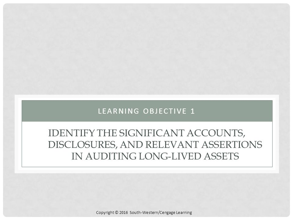 Learning objective 1 Identify the significant accounts, disclosures, and relevant assertions in auditing long-lived assets.