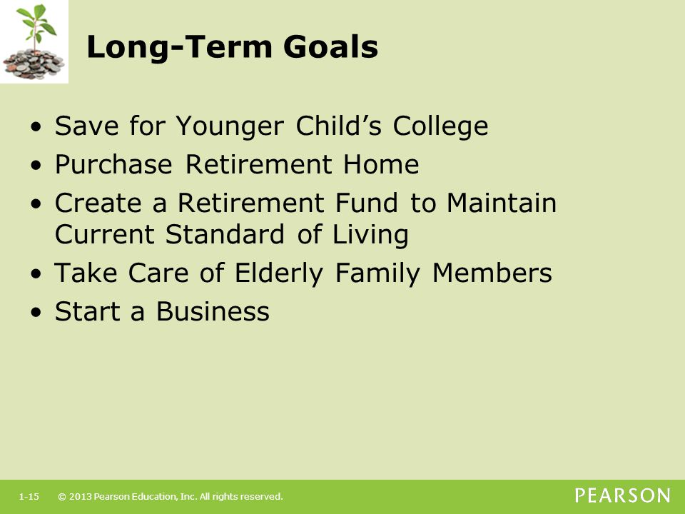 Long-Term Goals Save for Younger Child's College