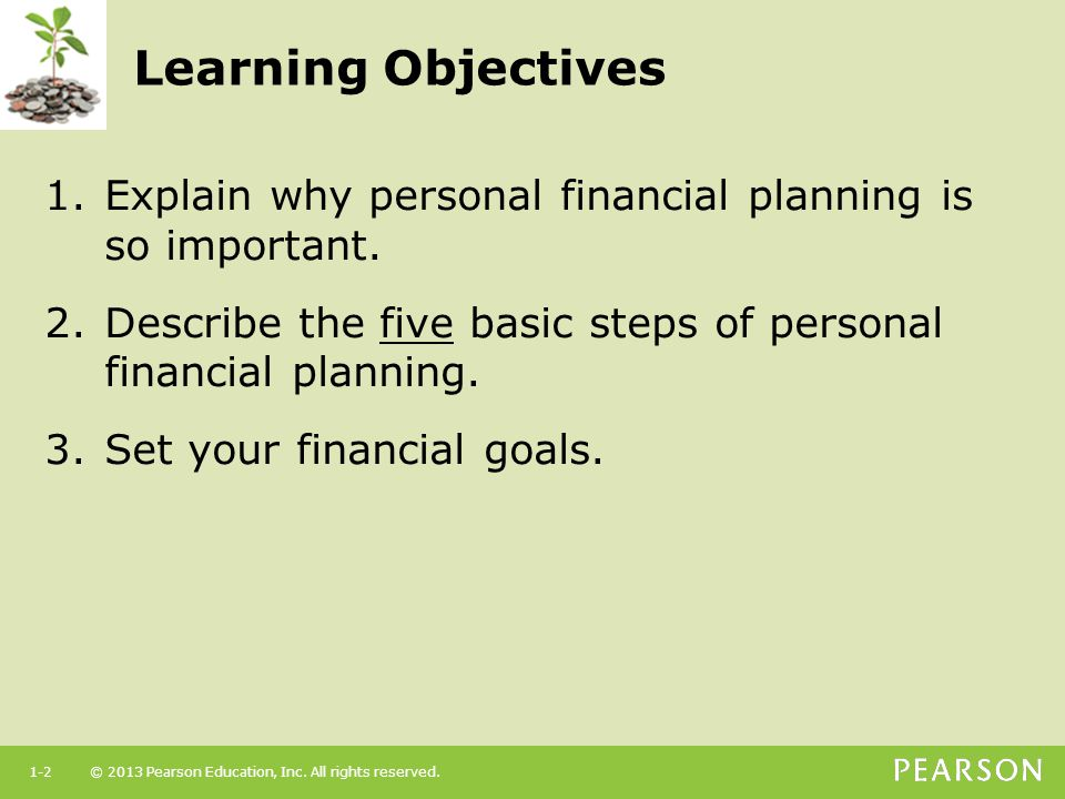 Learning Objectives Explain why personal financial planning is so important. Describe the five basic steps of personal financial planning.
