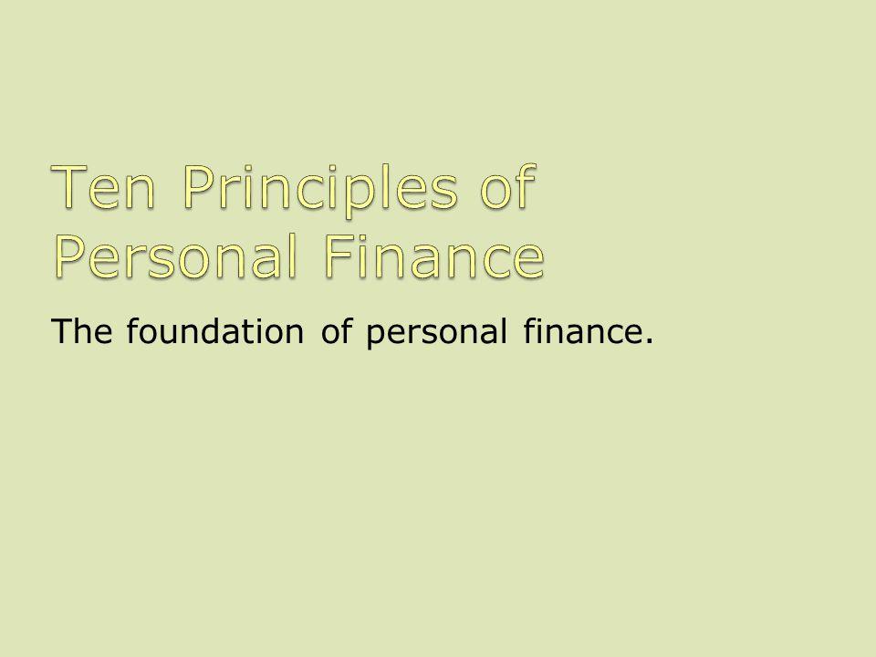 Ten Principles of Personal Finance