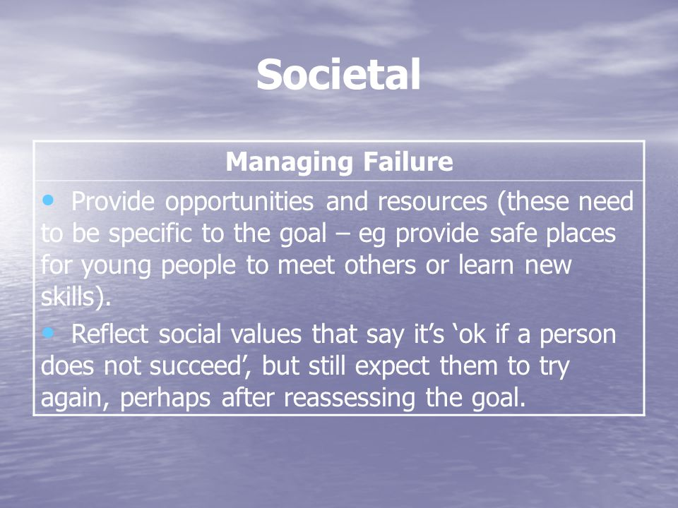 Societal Managing Failure