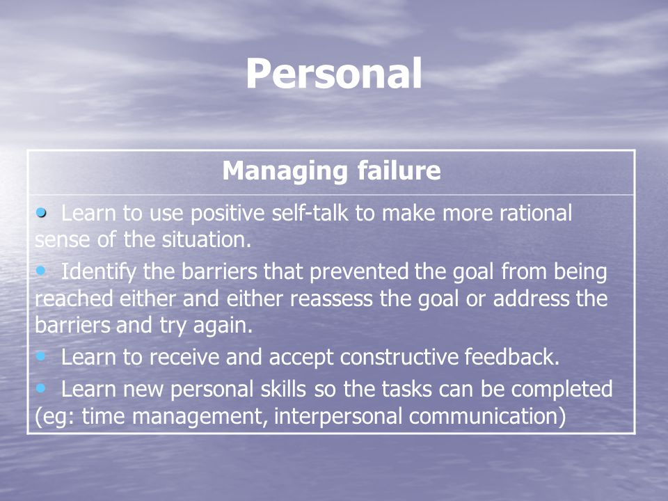Personal Managing failure