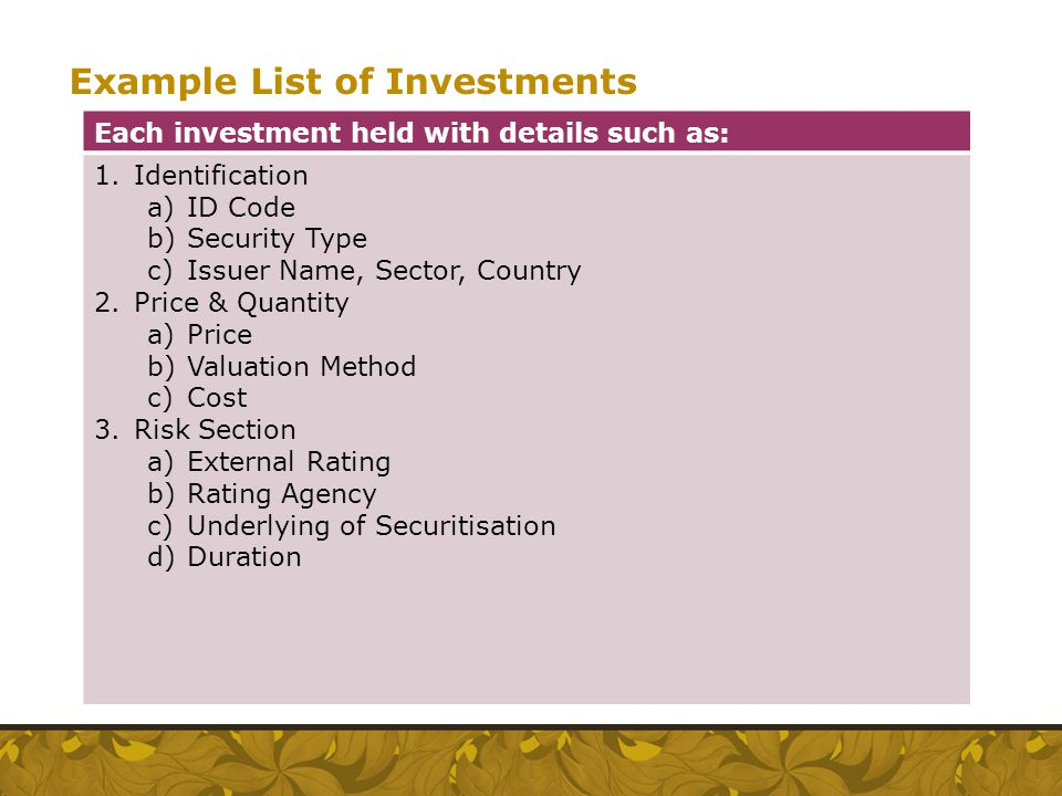 Example List of Investments