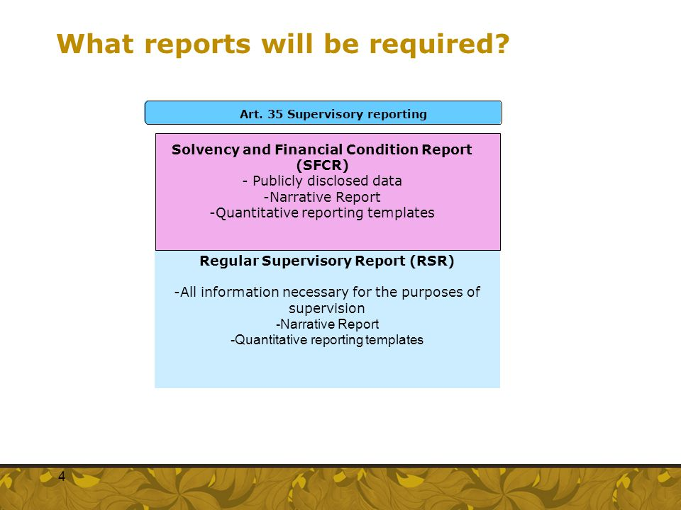 What reports will be required