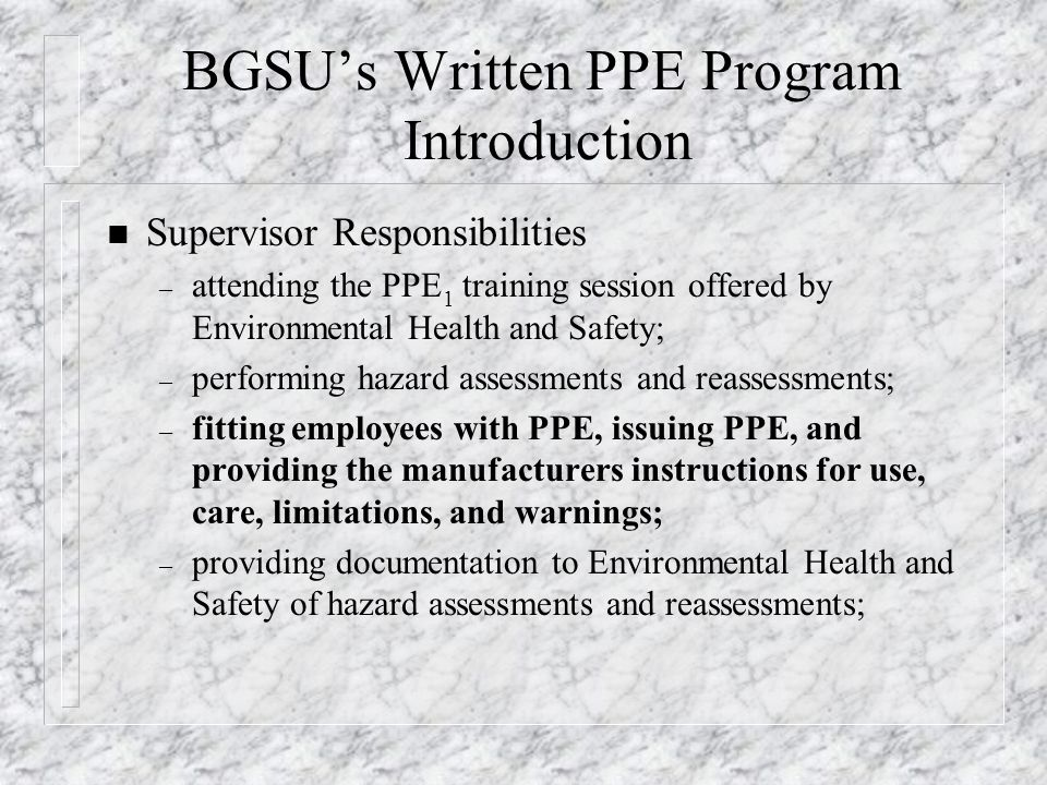 BGSU's Written PPE Program Introduction