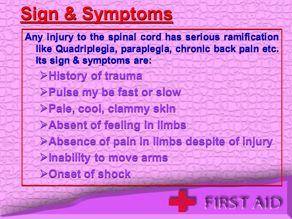 Sign & Symptoms History of trauma Pulse my be fast or slow