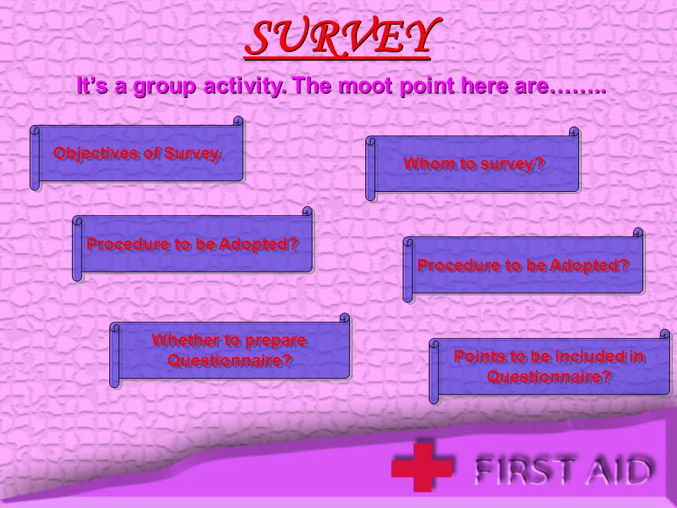 SURVEY It's a group activity. The moot point here are……..