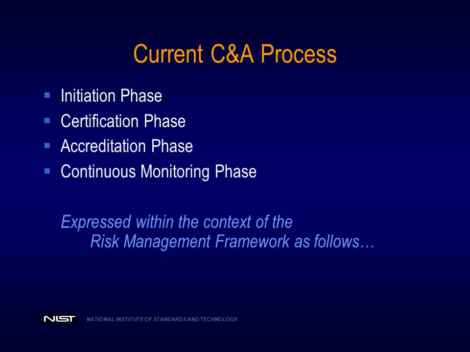 Current C&A Process Initiation Phase Certification Phase