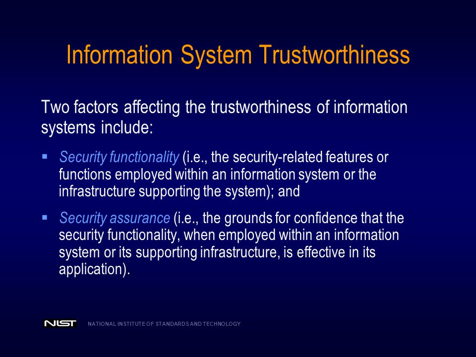 Information System Trustworthiness