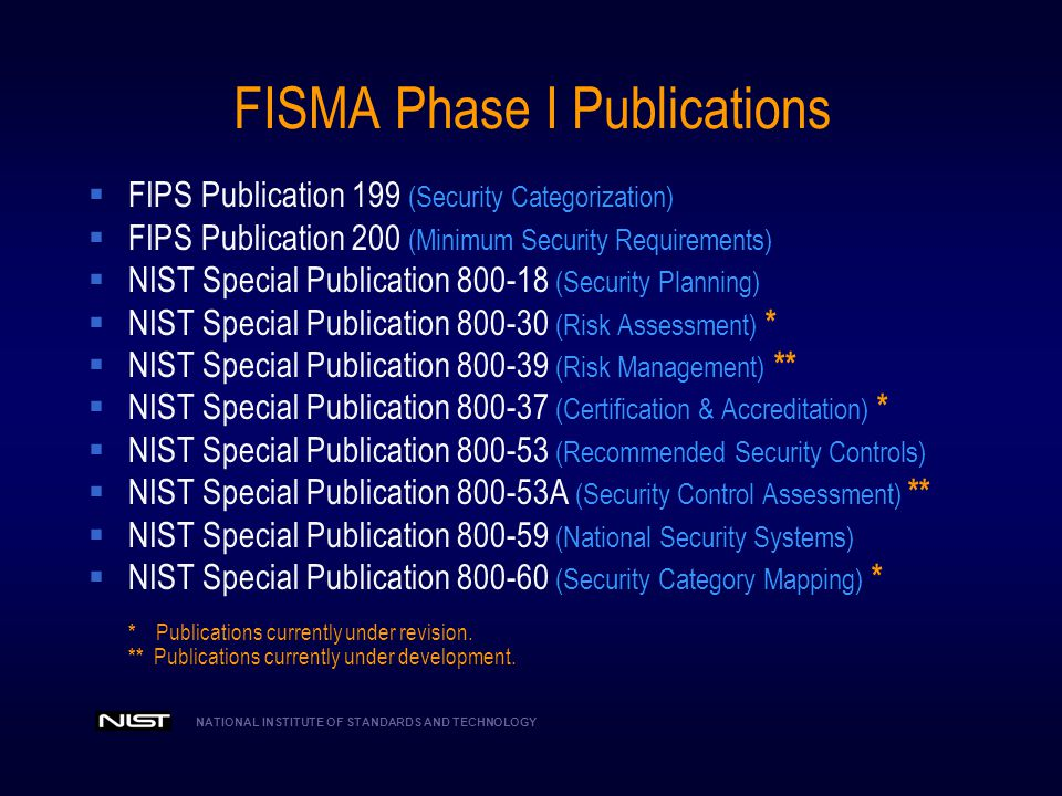 FISMA Phase I Publications