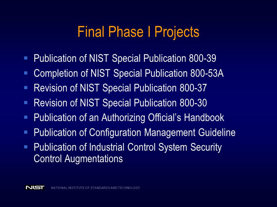 Final Phase I Projects Publication of NIST Special Publication 800-39