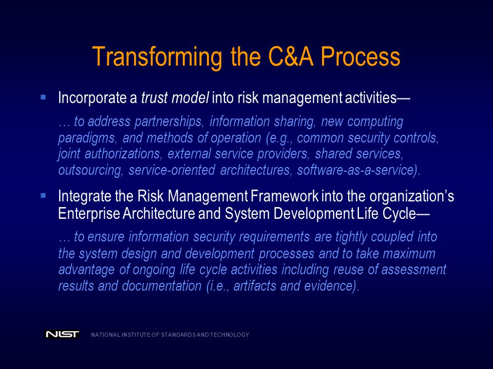Transforming the C&A Process