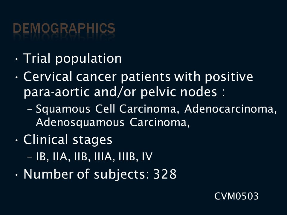 Trial population Cervical cancer patients with positive para-aortic and/or pelvic nodes :