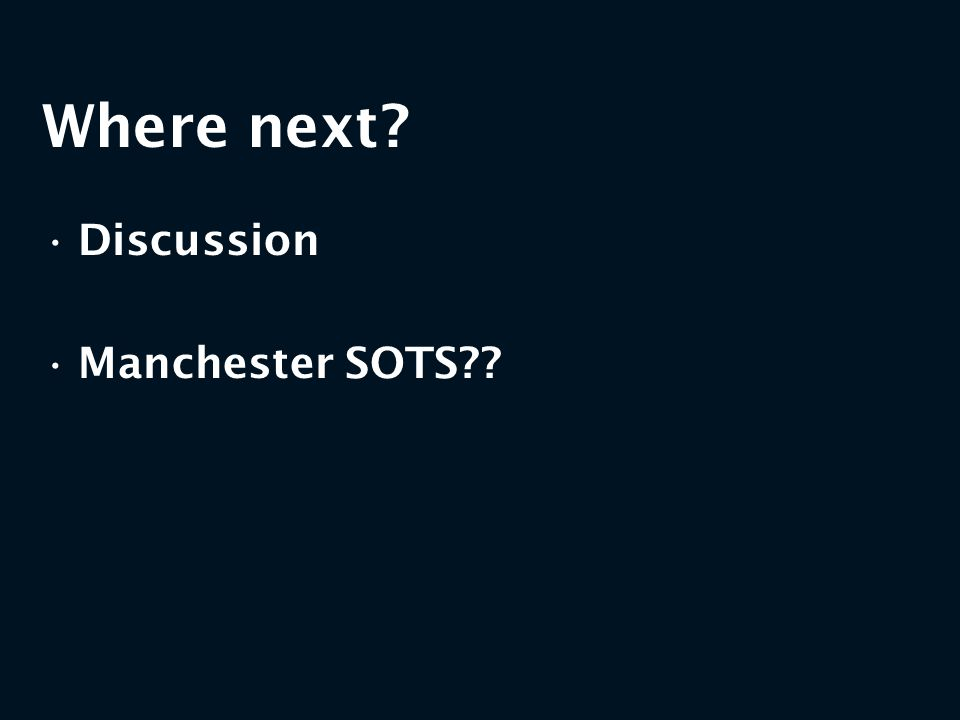 Where next Discussion Manchester SOTS