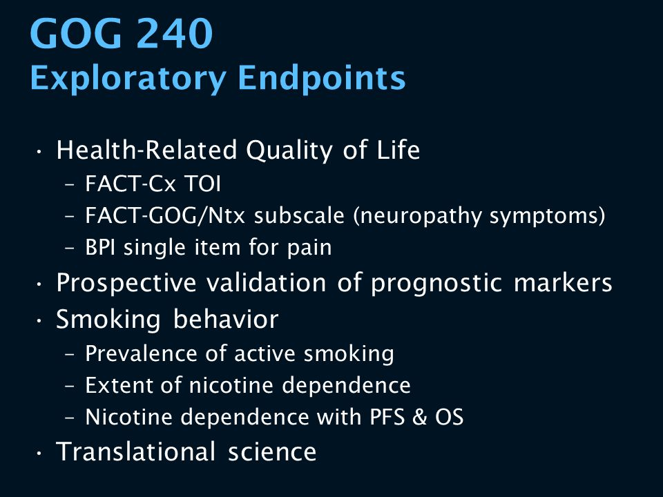 GOG 240 Exploratory Endpoints