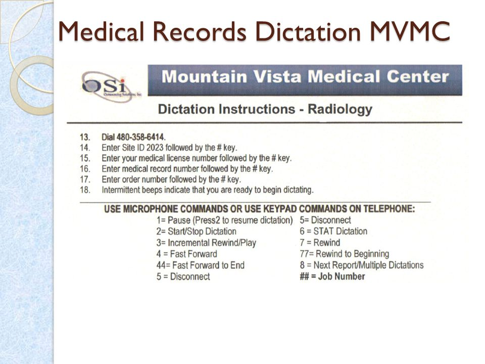 Medical Records Dictation MVMC