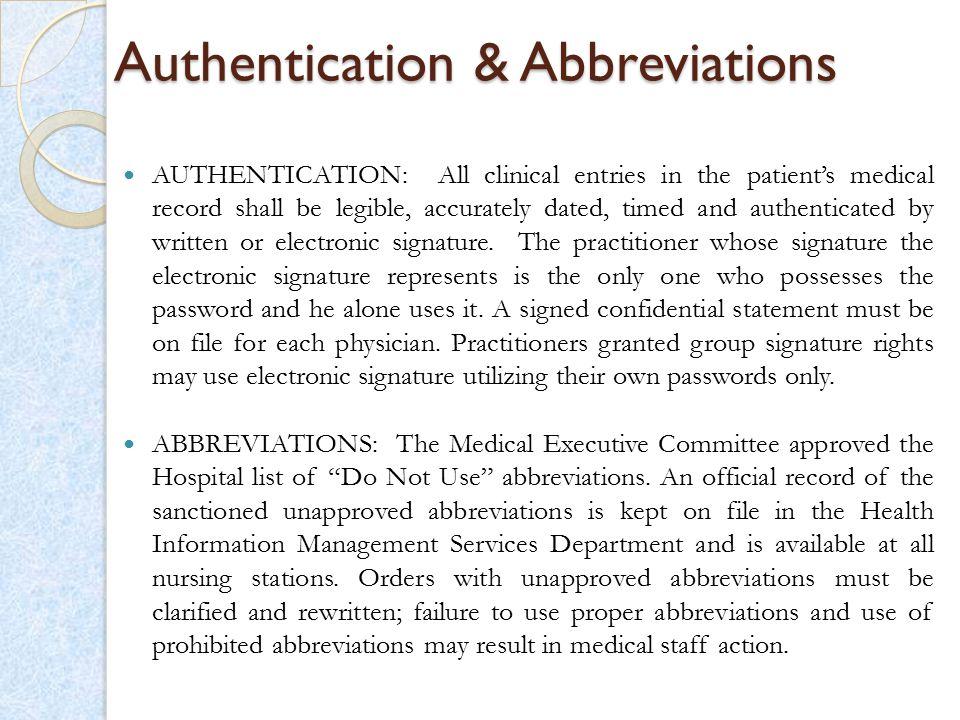 Authentication & Abbreviations