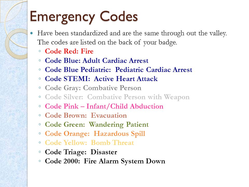 Emergency Codes Have been standardized and are the same through out the valley. The codes are listed on the back of your badge.