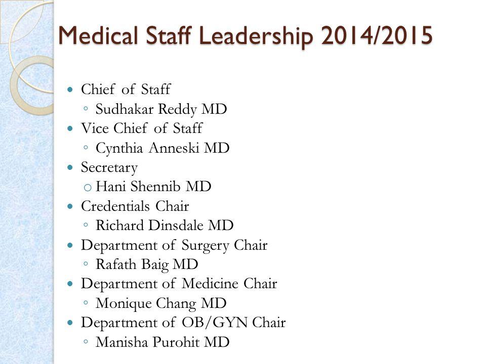 Medical Staff Leadership 2014/2015