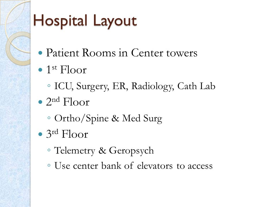 Hospital Layout Patient Rooms in Center towers 1st Floor 2nd Floor